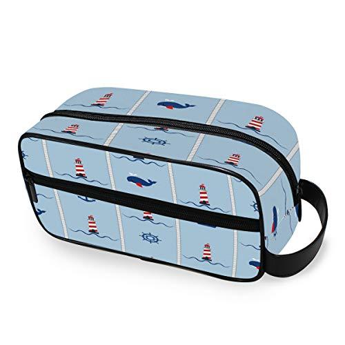 QMIN Tragbare Kulturtasche mit Leuchtturm, Papier, Schiffe, Wal, Anker, Kulturbeutel, Reisetasche, Kosmetiktasche, Make-up-Tasche, Aufbewahrungstasche für Jungen Mädchen und Herren