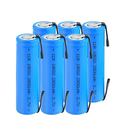 softpoint 3.7v Rechargeable 2800mah 18650 Battery, Icr 18650 Li-Ion Lithium Battery with Tabs for Headlamp Laptop Torch 6Pcs
