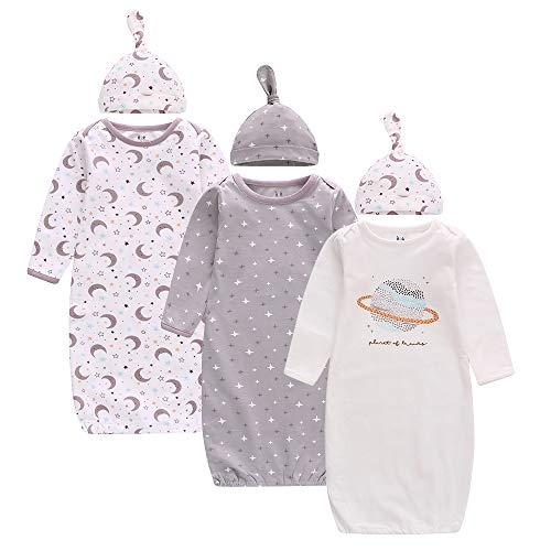 Baby Schlafanzug Winter, Baby Schlafsack Winter mit Langarm, Baby Nachthemd mit Mützen, 3er-Pack Sleeper Gown für 0-6 Monaten Junge Mädchen, 78 * 22cm, Baumwolle