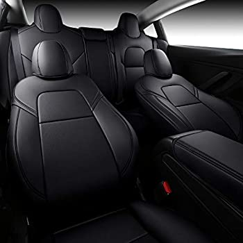 INCH EMPIRE Car Seat Cover for Tesla Model 3 PU Leather Seat Protector 14pcs Fully Wrapped Custom Fit for Model 3 2017 2018 2019 2020 2021 All Season Black