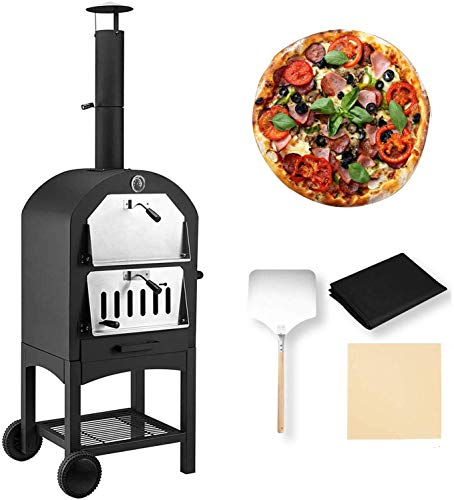 UNIONLINE Outdoor Wood Fire Pizza Oven with Waterproof Cover and Tools, Freestanding, Steel Pizza Grill, Pizza Maker Camping Cooker with Pizza Stone