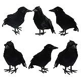 FUNPENY Halloween Black Feathered Crows, Lifelik...