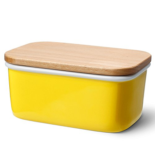 Sweese 3161 Large Butter Dish - Porcelain Keeper with Beech Wooden Lid, Perfect for 2 Sticks of Butter, Yellow