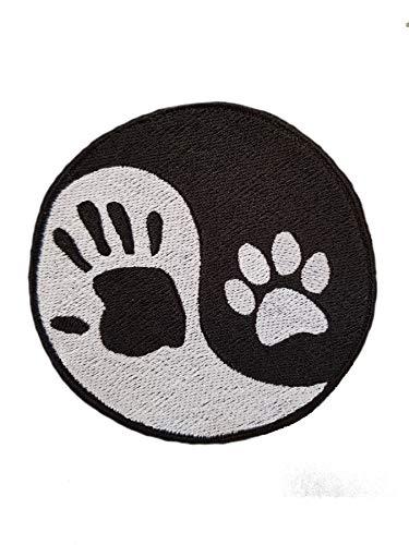 Patches zum Aufnähen im Yin-Yang-Stil mit Pfoten- und Handabdruck, bestickt, zum Aufbügeln, für Jacke, Kappen, Jeans [Größe Large]