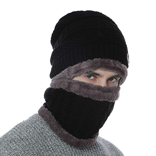 DORRISO Hombre Mujer Gorro Punto Primavera Otoño Invierno Gorro con Bufanda Calentar Sombreros Esqui Sombrero de Deportes al Aire Libre de Punto