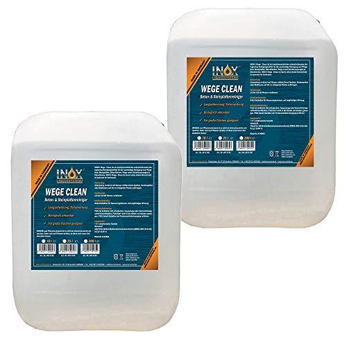INOX® Wege Clean SteinreinigerKonzentrat, 2 x 10L - Gründbelagentferner, Algenentferner für Außenbereich