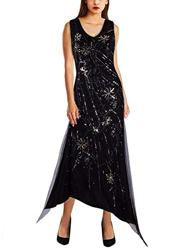 VIJIV 1920s Great Gatsby Dresses for Women Plus Size V Neck Irregular Flapper Evening Dress Black