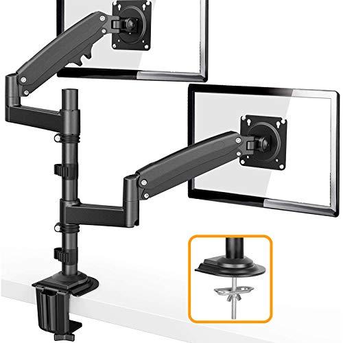 ErGear PCモニタアーム 2画面 22~32型 耐荷重2-12kg ディスプレイアーム デュアル ガス圧 VESA規格100*100 多角度調節