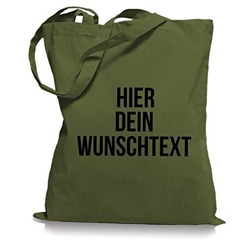 Stoffbeutel Jutebeutel mit Wunschtext/Selber gestalten mit dem Amazon T-Shirt Designer/Beutel Druck/Designertool Tragetasche/Bag/Jutebeutel WM1-olive