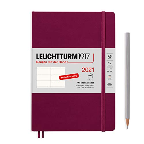 LEUCHTTURM1917 362018 Port Red, Wochenkalender, Softcover, Medium (A5) 2021, Deutsch