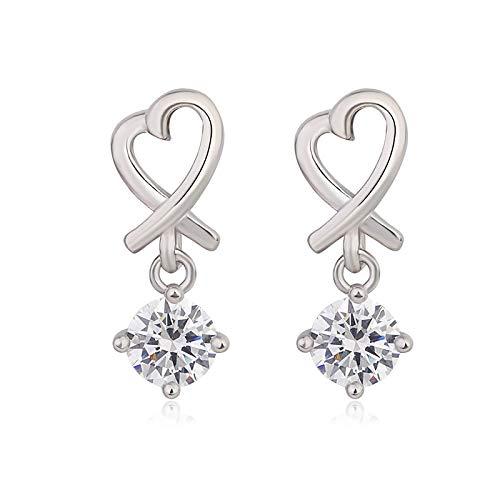 Heart-Shaped Diamond Long Earrings Female Love Zircon Earrings Personality Temperament Ear Jewelry Simple Fashion Jewelry