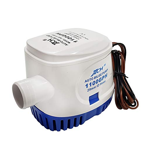 Automatic Submersible Boat Bilge Water Pump 12v 1100gph Auto with Float Switch 1-1/8' inch outlet