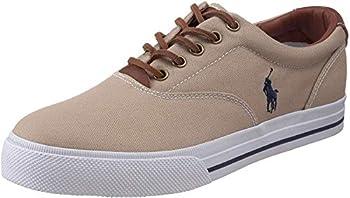 Polo Ralph Lauren Men s Vaughn Fashion Sneaker Khaki Canvas/Leather 10 D US