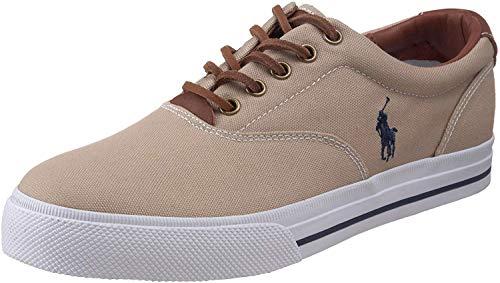 Polo Ralph Lauren Men's Vaughn Fashion Sneaker, Khaki Canvas/Leather, 10 D US
