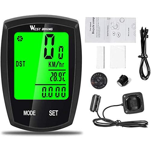 Yangyang Velocímetro De Bicicleta, Cuentakilómetros De Ciclismo Impermeable con Cable con Pantalla LCD Retroiluminada, Accesorios De Ciclismo De Velocidad, Distancia, Tiempo Y Medición