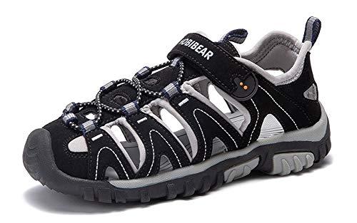Gaatpot Sandalias Deportivas para Unisex niños Aire Libre Deporte Zapatillas de Senderismo Sandalias con Punta Cerrada Zapatos Negro 34 EU