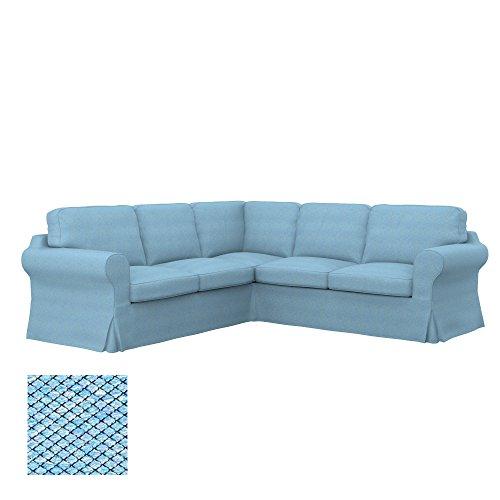 Soferia Ersatzbezug fur IKEA EKTORP 2+2 Ecksofa, Stoff Nordic Blue