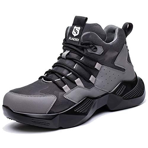 SUADEX Zapatos de seguridad para hombre y mujer, ligeros, deportivos, transpirables, con puntera de acero, 37-48 EU, color Gris, talla 42 EU