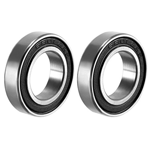 uxcell 6801-2RS Deep Groove Ball Bearing Double Sealed 1180801, 12mm x 21mm x 5mm Carbon Steel Bearings (Pack of 2)
