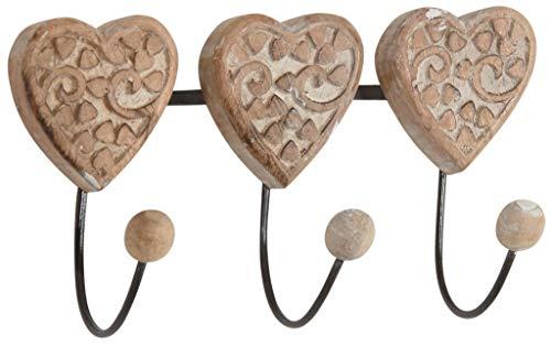 Aubry Gaspard - Appendiabiti a forma di cuore in mango con 3 doppi ganci