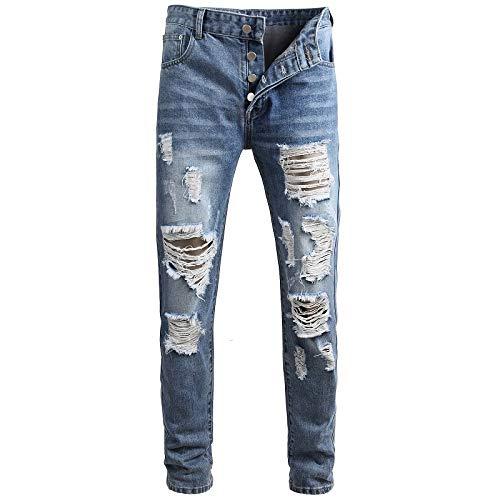 Beastle Pantalones Vaqueros para Hombre Tendencia Europea y Americana Personalidad Pantalones de Mezclilla Rasgados Moda Streetwear Jeans Casuales 30
