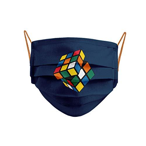 Mascarilla Cubo Mágico Rubik Azul Marino Gomas Naranjas Cencibel