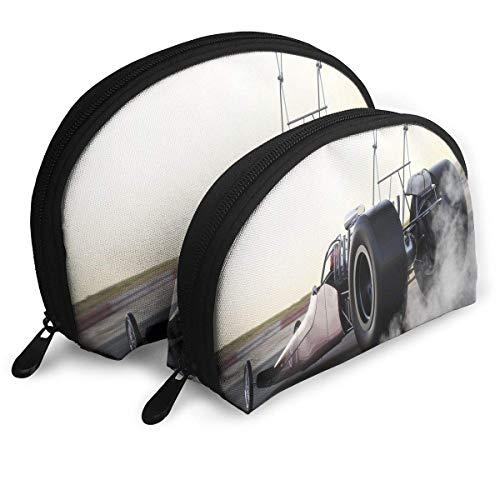 Schalenform Make-up-Tasche Set Tragbare Geldbörse Reise Kosmetikbeutel, Dragster Rennen auf der Strecke mit Burnout-Wettbewerb Geschwindigkeit Sporttechnologie, Frauen Toilettenartikel Clutch