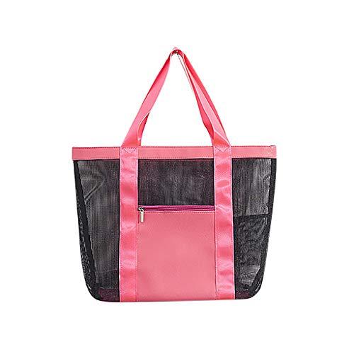 Bolsa de playa de malla, bolsa de almacenamiento para la playa, organizador de red, bolsa de almacenamiento para el verano, vacaciones, viaje, Rosa (rosa brillante), 41x32x15cm