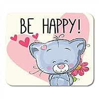 マウスパッド防傷ファッションピンクの猫は幸せなかわいい心と花の動物マウスパッド防傷ファッションノートブック、デスクトップコンピューターマウスマット、オフィス用品