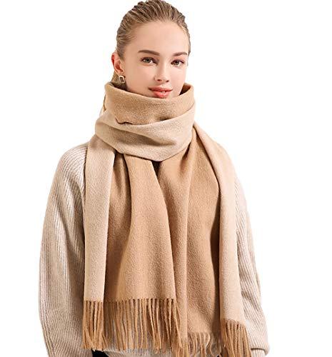 Zehua Sciarpa Invernale Da Donna In Pura Lana Sciarpa Bifacciale In Tinta Unita Calda Sciarpa Morbida Lunga E Spessa Nappa (Grigio chiaro)