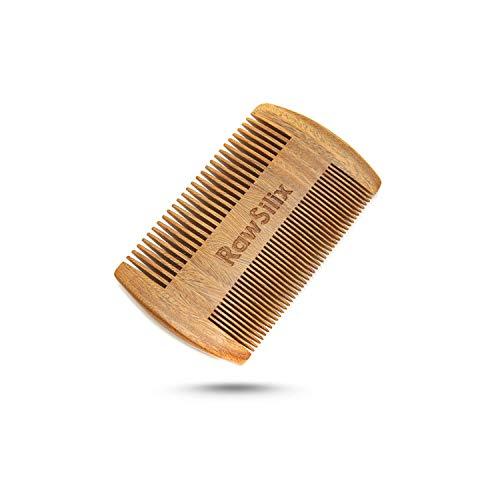 RawSilix | Premium Bartkamm | Traumhafter Sandelholz Duft | Herren & Frauen Kamm | 1 Kauf pflanzt 1 Baum | Zahnung fein & grob | Umweltfreundlich | Holzkamm