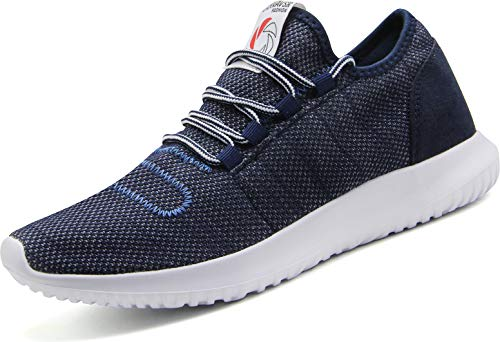 CAMVAVSR Men's Running Shoes Fashion Slip on Lightweight Breathable Mesh Soft Sole Athletic Sneakers for Young Men Blue Size 12.5