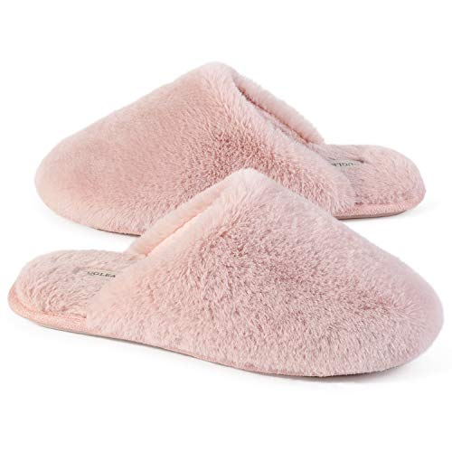 Snug Leaves Damen Flauschige Hausschuhe mit Kunstfell und Memory Foam, Sexy und Klassische Pantoffeln Rosa,40/41 EU