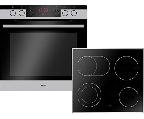 Amica EHCX 934 600 E Einbauherd-Set mit Glaskeramik-Kochfeld, SCHOTT CERAN® - Edelstahl
