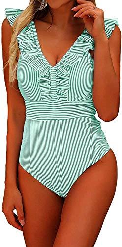 CheChury 2021 Bikini Moda Mujer De Una Pieza Traje De Baño Push-Up Bra Volantes Correas Hoja de Loto Bikini Bañadores De Mujer Tallas Grandes Sexy Ropa de Baño Bikini Acolchado