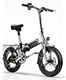 MQJ Bicicleta Eléctrica de Ebikes, Bicicleta Plegable de la Cola Suave, 36V400W / 10Ah Batería de Litio, Teléfono Móvil Usb/Frente Y Trasera Luces Led, Bicicleta de la Ciudad