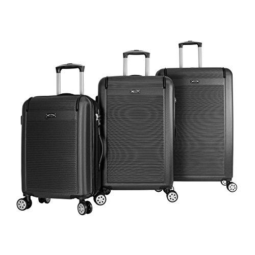 Kemyer 3-Piece Hardside TSA Lock Lightweight Spinner Rolling Luggage Set, Black