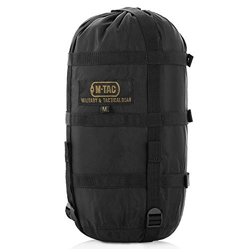Nylon Sleeping Bag Compression Bag - Stuff Sack - Military Camping Hiking Backpacking - M (Black)