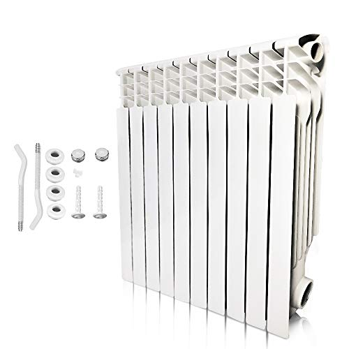 AB Energy Saving Wall Mount Radiator Heater, Light Weight Aluminum Hot Water Radiator forKitchen, bathroom and bedrooms(10 Section)