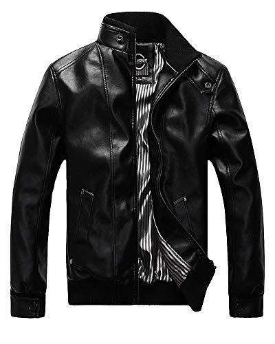 YAOTT Hombre Delgado Chaqueta Cuero de imitación Motorista Abrigos Vintage de Punk Negro S