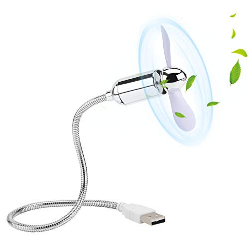 Vbestlife USB-ventilator, laag vermogen, flexibele mini-USB-koeling, bureauventilator voor notebook/kantoor I USB-gadget I kleine ventilator - wit