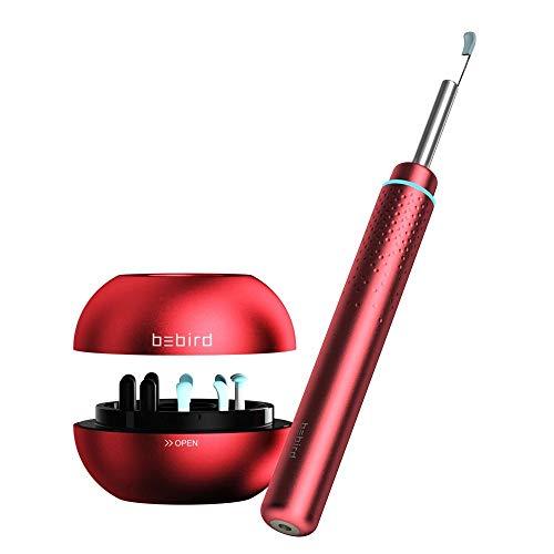 BEBIRD M9 Pro Endoscope WiFi Ear Endoscopio para Eliminación de cera del oído Inalámbrico Cámara de Inspección de otoscopio Impermeable Portable HD Borescope para Android y iOS Smartphones-Rojo