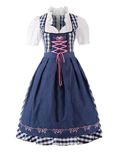 ReliBeauty Dirndl Dresses Women Traditional Oktoberfest Costume 2 Piece Blue Apron,(XL)