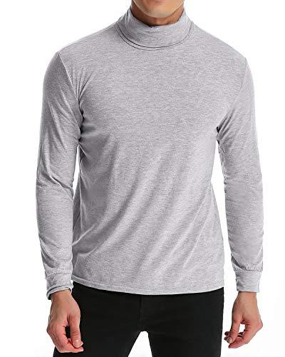 MODCHOK Turtleneck Shirt, Herren Langarmshirt Rollkragenshirt Ringelshirt Rollkragenpullover Longsleeve Slim Fit Einfarbig Hellgrau XL