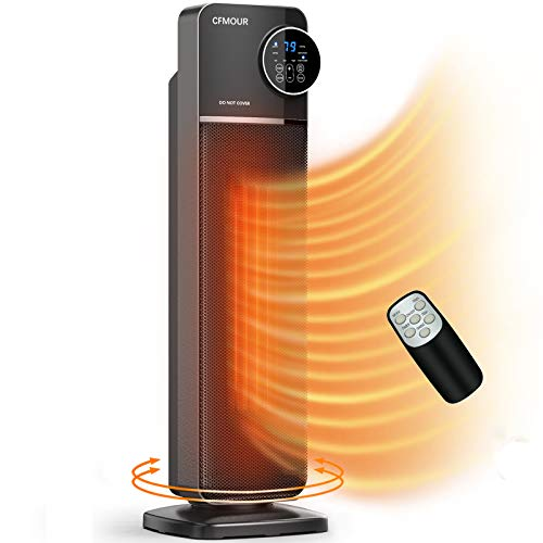 Space Heater, CFMOUR Indoor PTC 1500W Fast Quiet Electric Oscillating Ceramic Tower Heater Fan with Remote control, Tip-Over & Over-Heating Protection, Timer, ECO Mode Thermostat for Home Office