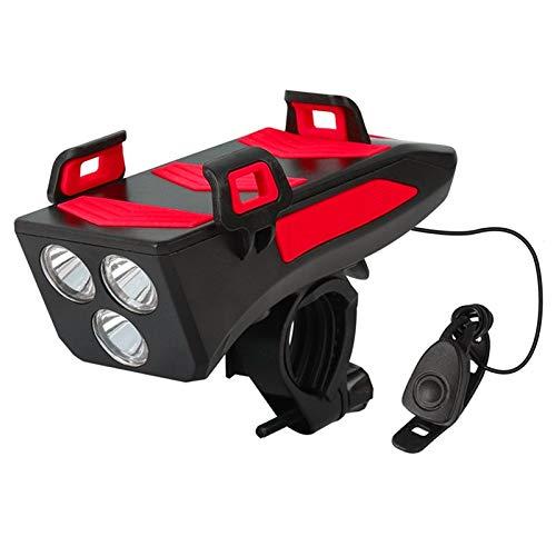 EMGQ Luz de Bicicleta de montaña Soporte de teléfono móvil de Carga móvil 4IN1 con Luces de Bicicleta Soportes de Carga USB Soporte (Color : Red 4000mAh)