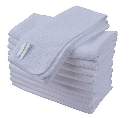 SINLAND Microfiber Dish Drying Towels Dish Towels Waffle Weave Kitchen Towels 16 Inch X 24 Inch 10 Pack White