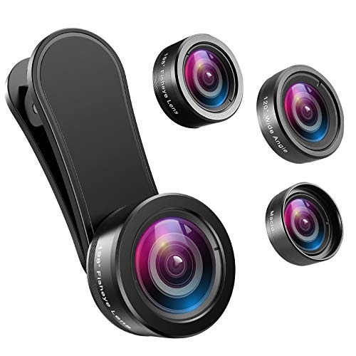 Criacr Phone Camera Lens, 198°Fisheye Lens, 120° Super Wide Angle Lens, 20X Macro Lens, for Tik Tok, Vlog Video, Clip on Phone Lens for iPhone 12 12 Pro, 11, XS, XR 8 7 Plus 7, Samsung, Smartphones