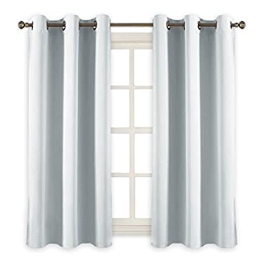 PONY DANCE White Curtains Room Darkening - Home Decor Panels Elegant Chrome Heavy Duty Blackout Curtains/Window Treatments Light Blocking Draperies for Kitchen & Bedroom, 42 by 54 Inches, 2 Pcs