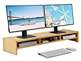 MaxGear Large Dual Monitor Stand Riser for Desk, Wood Computer Monitor Stand with Storage, Solid Bamboo Double Monitor Stand Shelf, Desktop Monitor, Double-Deck TV Shelf, Natural